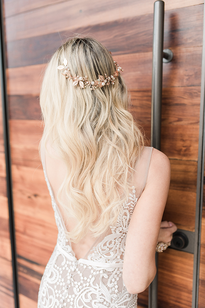 Open Back Wedding Dress with Loose Waves and a Hair Vine