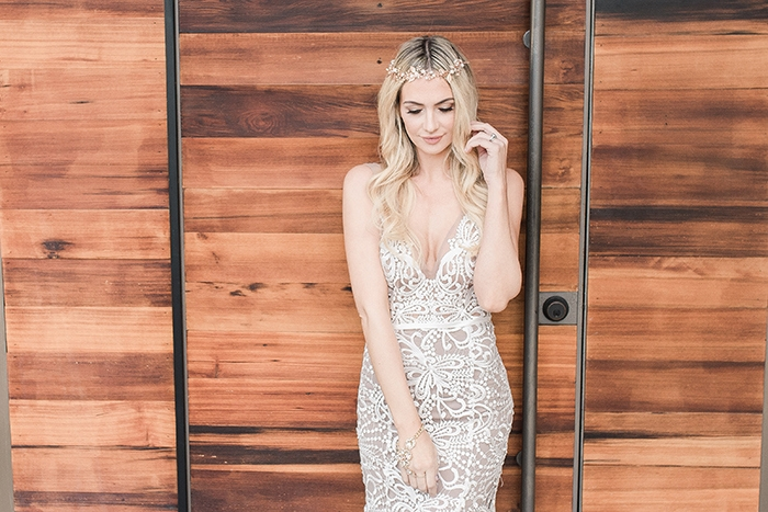 Nude Illusion Lace Wedding Dress with a Rose Gold Halo
