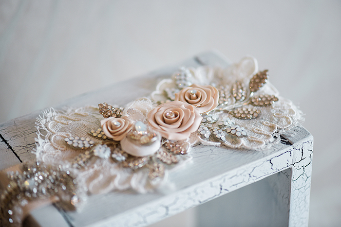 Clay Rose Sash with Alencon Lace and Crystal Leaves from Haute Bride