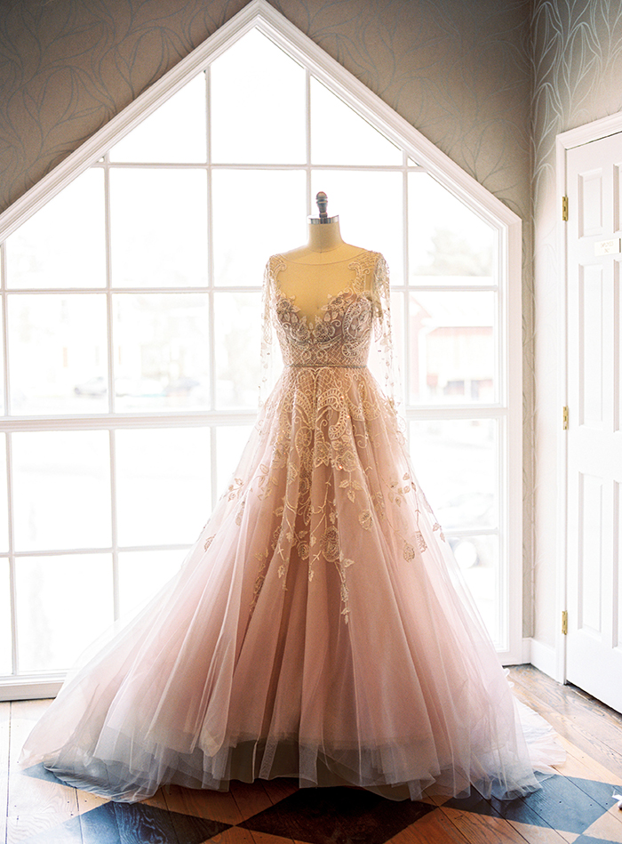 Hayley - Blush Beaded Wedding Dress with Illusion Sleeves