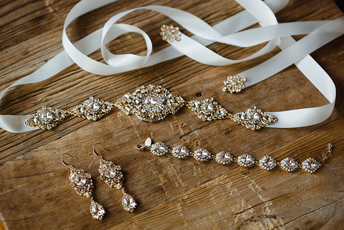 Gold and Crystal Wedding Jewelry