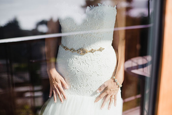 Lace Mermaid Wedding Dress with a Crystal Sash
