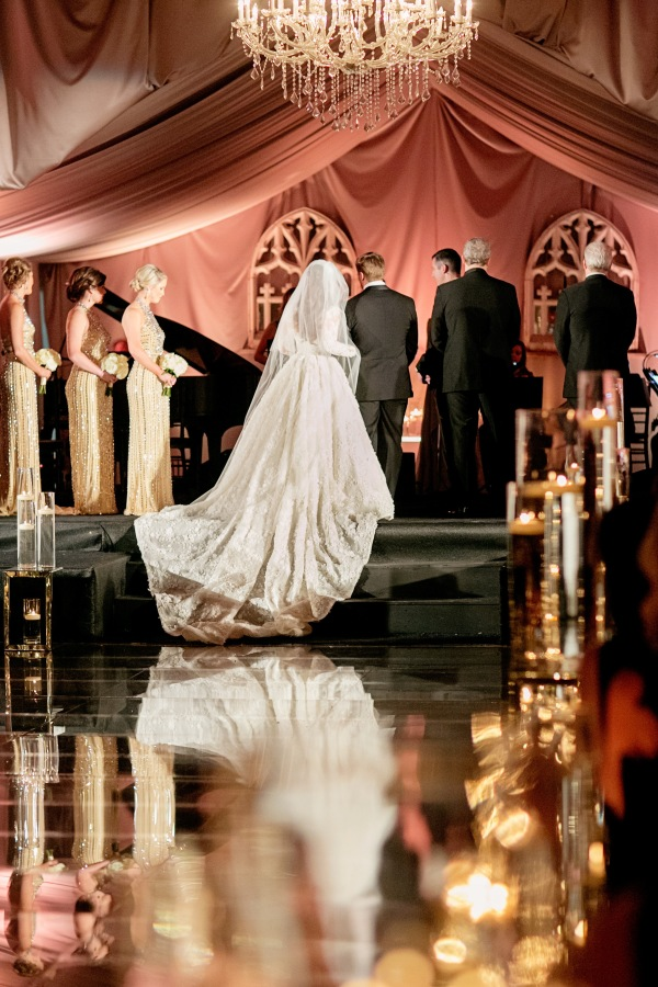 Elegant Candlelight Wedding Ceremony with a Long Train