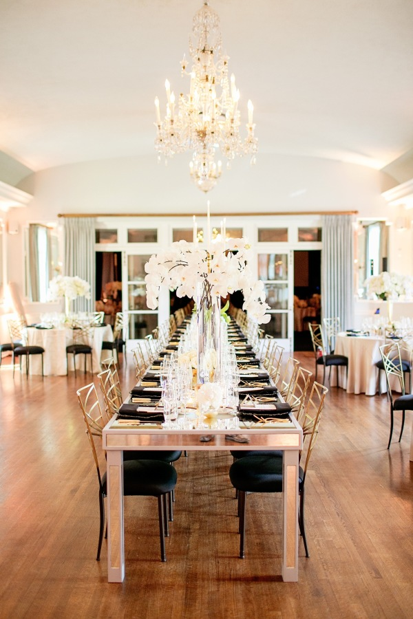 Black and White Wedding Reception with Crystal Chandeliers