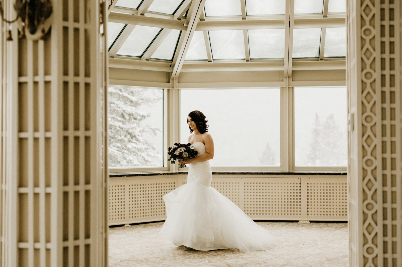 Winter Castle Wedding with a Lace Mermaid Dress