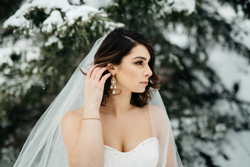 Winter Wonderland Bride with Statement Earrings