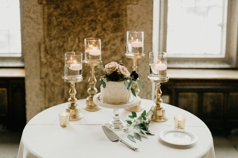 Elegant Cake Table with Vintage Candleholders