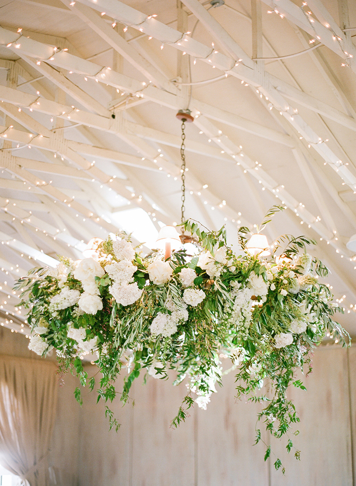 Floral Chandelier for an Elegant Barn Wedding Reception