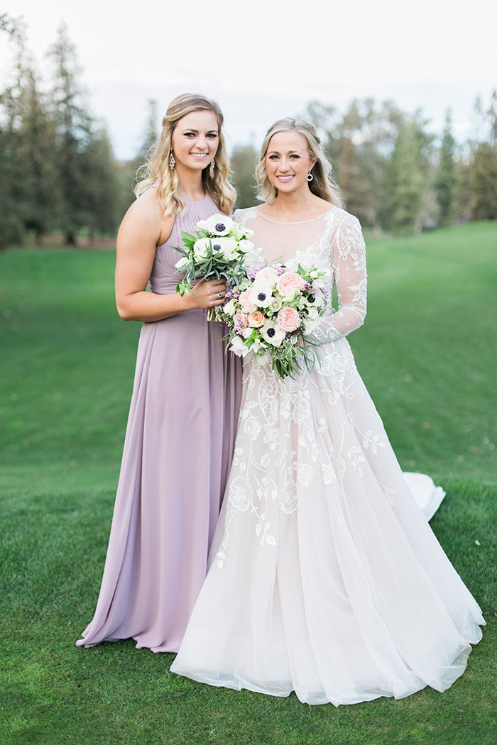 Amethyst Hayley Paige Wedding Dress with a Purple Bridesmaid Dress