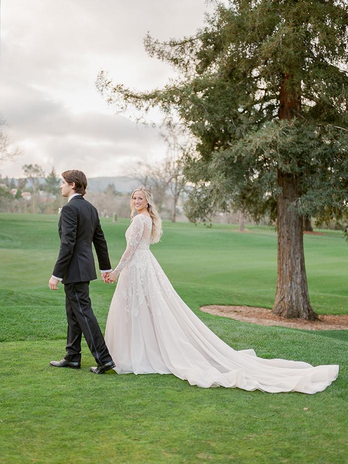 Romantic Santa Cruz Mountain Wedding Photos with a Glam Hayley Paige Wedding Dress