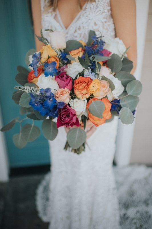 Colorful Bouquet with Bohemian Lace Wedding Dress