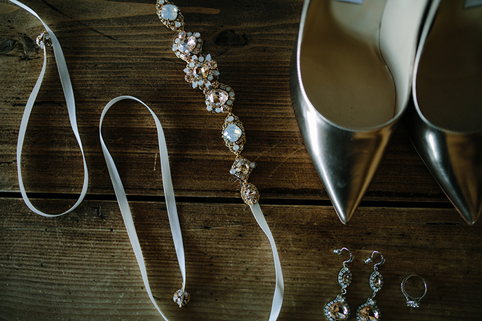Metallic Gold and Crystal Wedding Shoes and Jewelry from Haute Bride