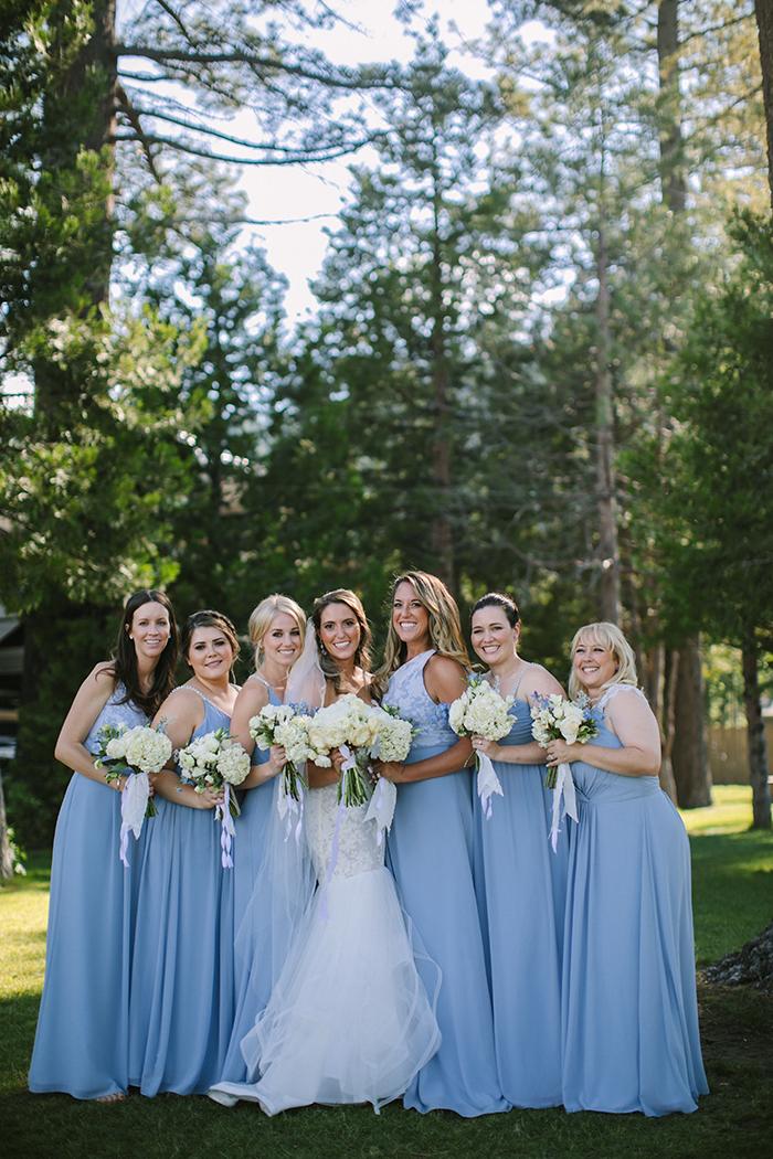 Bridesmaids in Blue Mismatched Hayley Paige Dresses