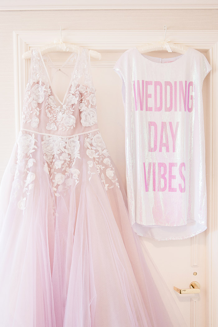 Hayley Paige Leah Wedding Dress and Wedding Day Vibes Sequin Robe