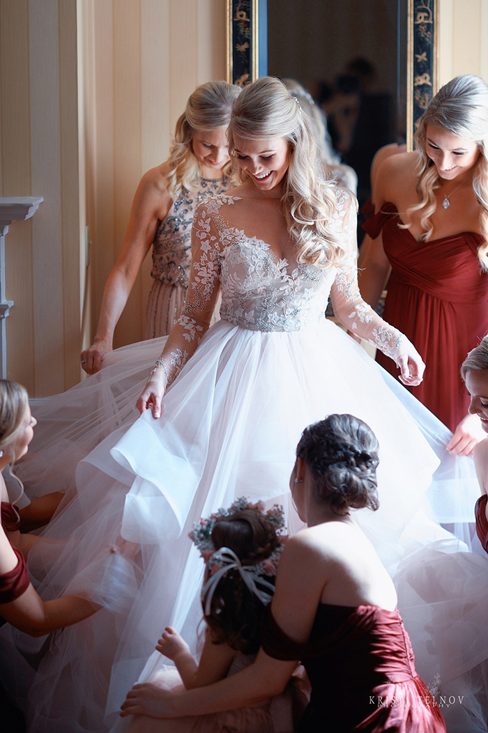 Bride Getting Ready in the Lorelei Wedding Dress from Hayley Paige