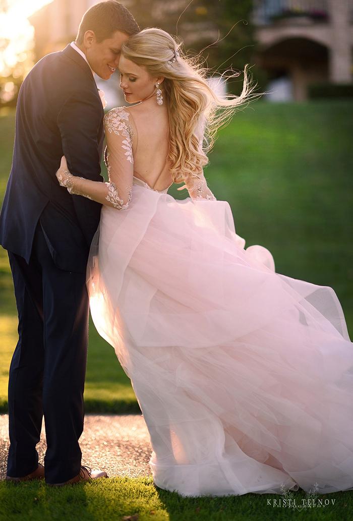 Romantic Blush Pink Wedding Dress with Illusion Sleeves