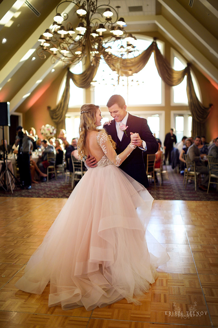 First Dance with a Pink Hayley Paige Wedding Dress