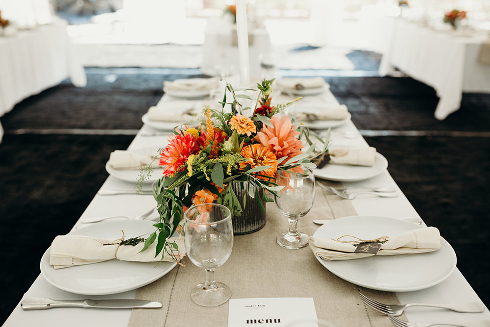 Neutral and Fiery Orange Autumn Wedding Flowers and Decor