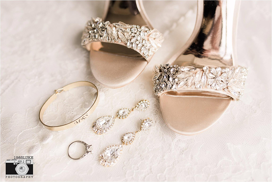 Glamorous Crystal Wedding Shoes and Jewelry