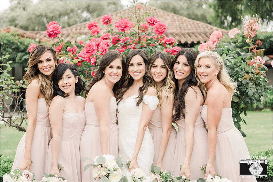 Blush Bridesmaid Dresses with Greenery Bouquets