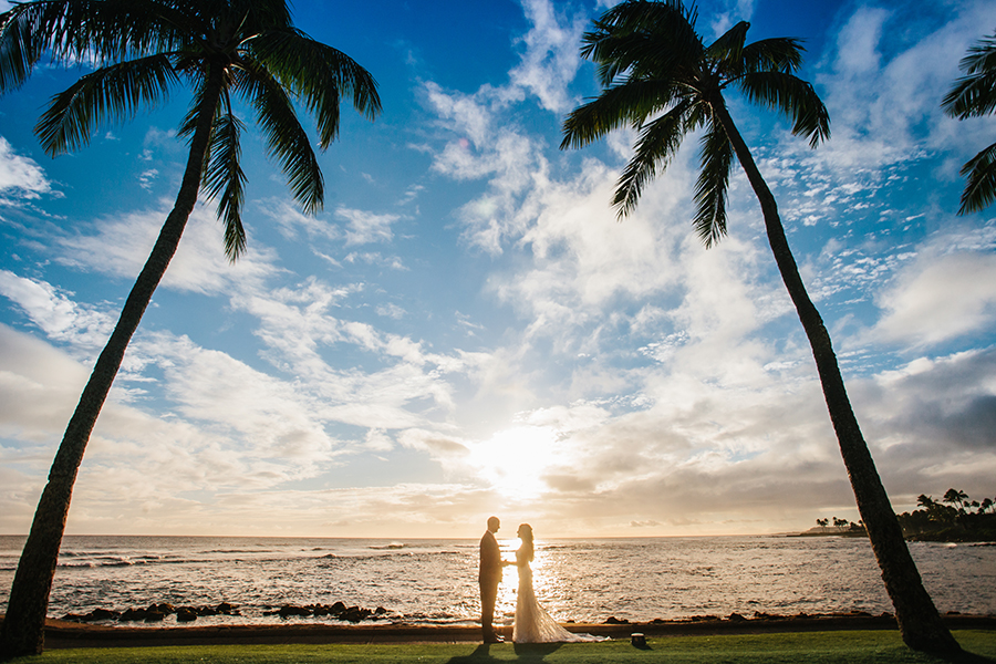 Dramatic Hawaiian Wedding Portaits