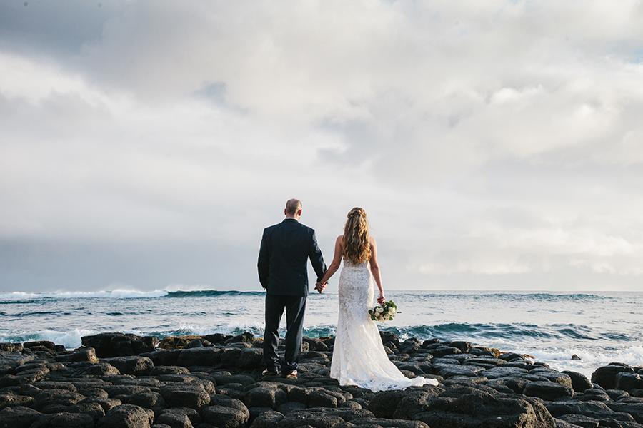 Lava Rocks Wedding Photos in Kauaii