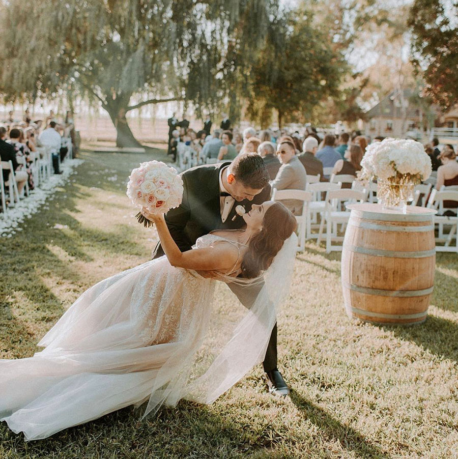 Perfect Wedding Day Photo at the End of the Aisle