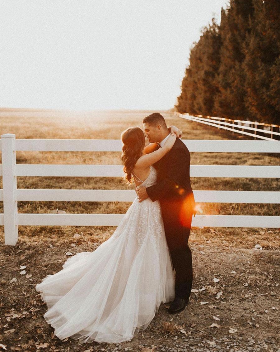 Magic Hour Wedding Photos for a Glam Blush Pink Real Wedding