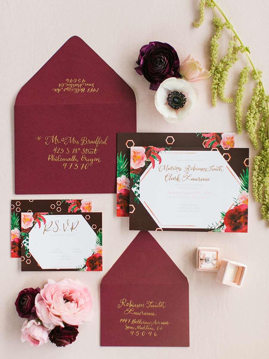 Burgundy Floral Print Wedding Invitation