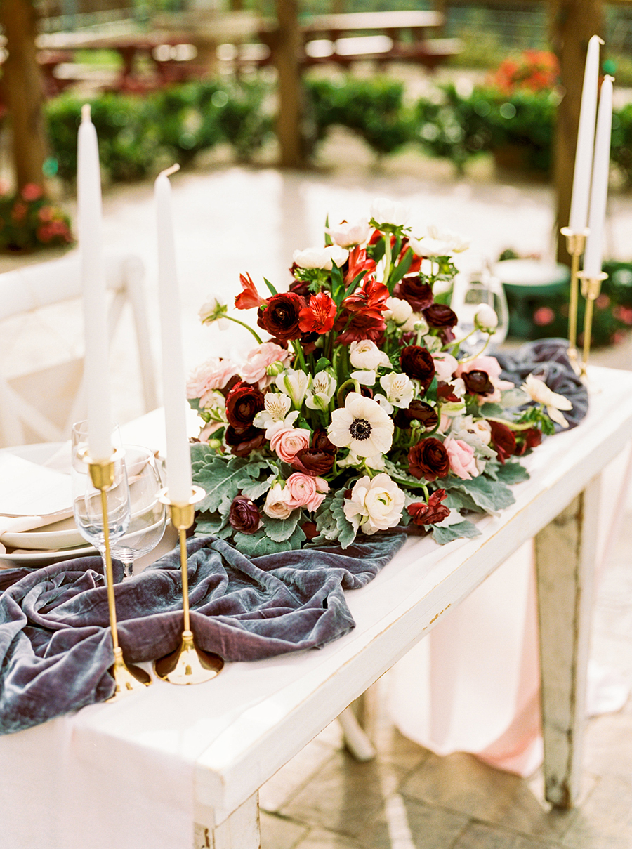 Slate Blue Velvet and Burgundy Flowers for a Romantic Sweetheart Table Centerpiece