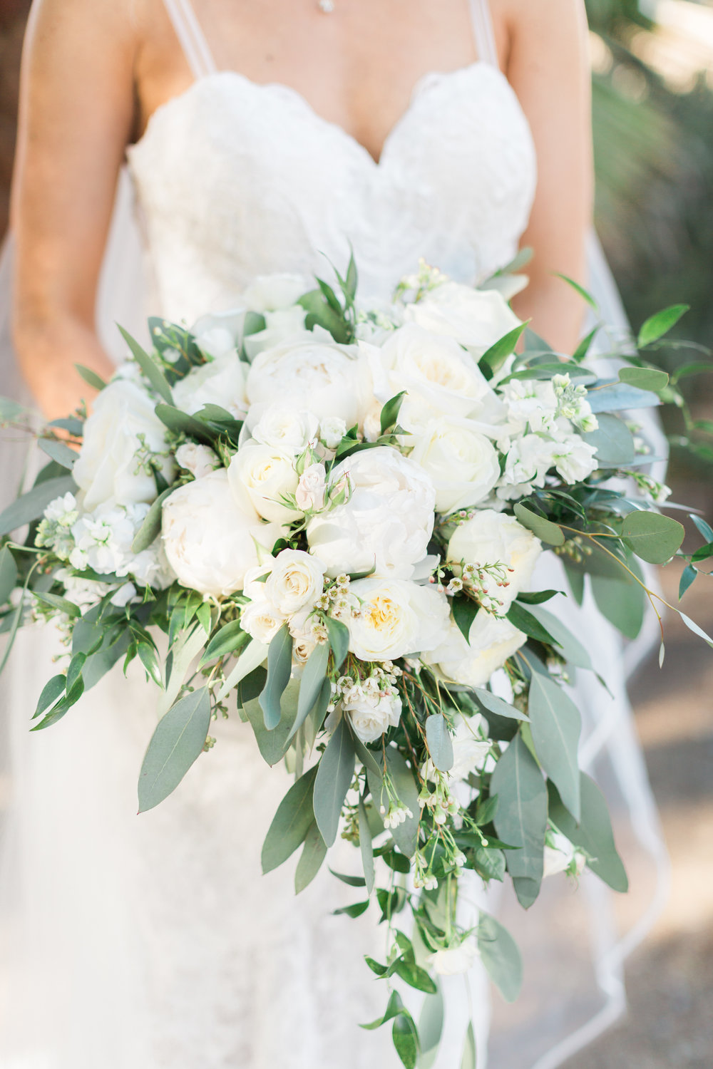 White and Greenery Heart Shaped Bridal Bouquet