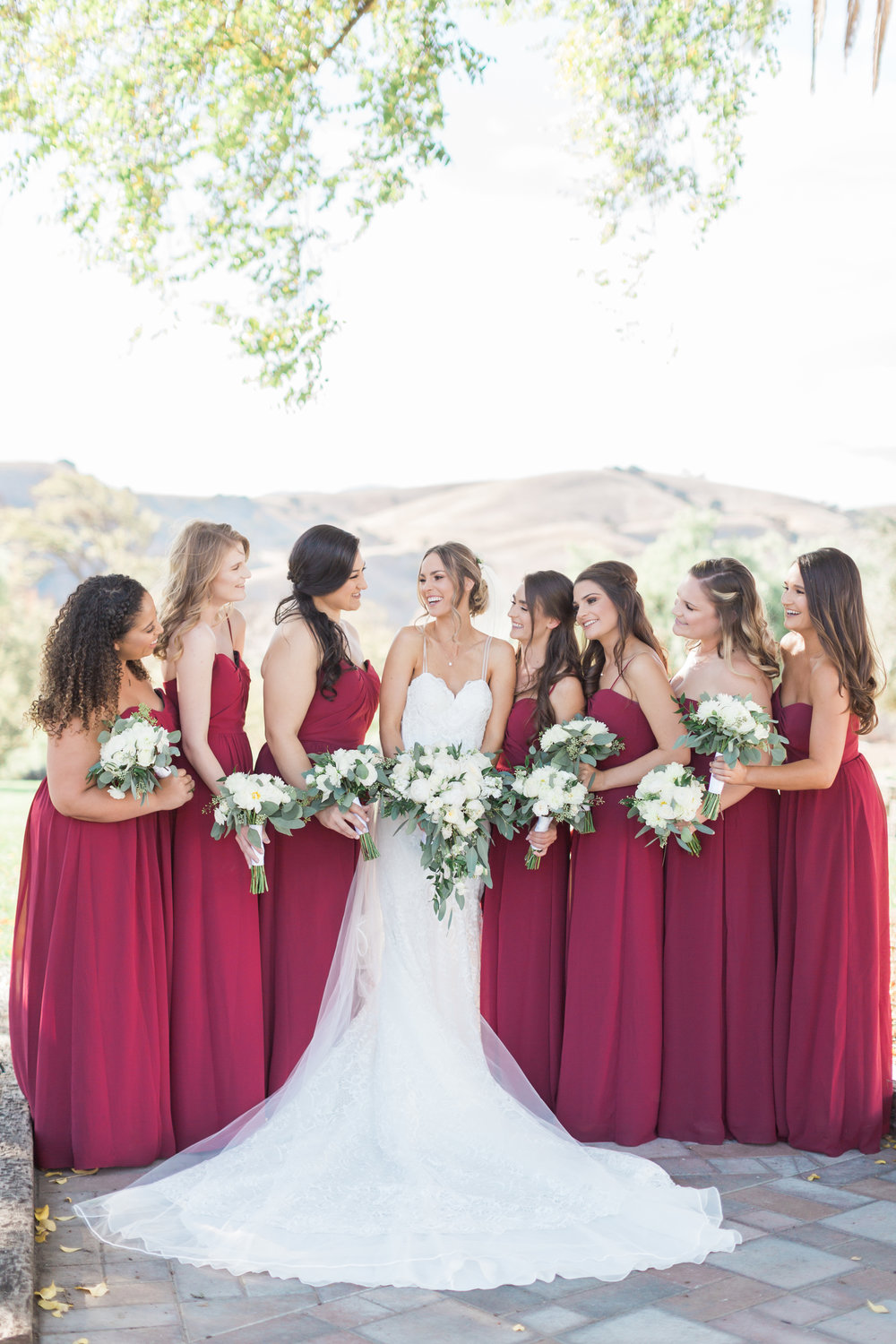 Bohemian Ranch Wedding with Bridesmaids in Burgundy