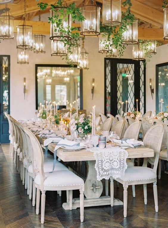 Rancho Valencia Wedding Reception with Hanging Lanterns