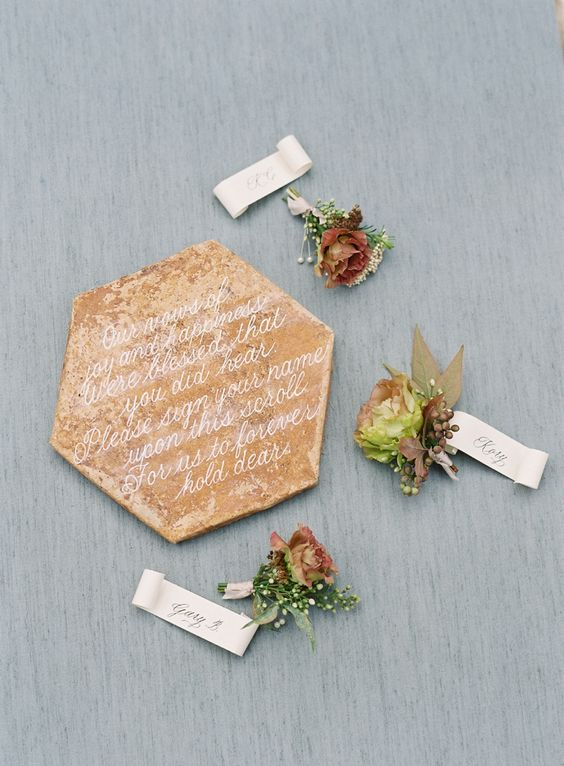 Terra Cotta Guest Book Tile with Fall Flowers