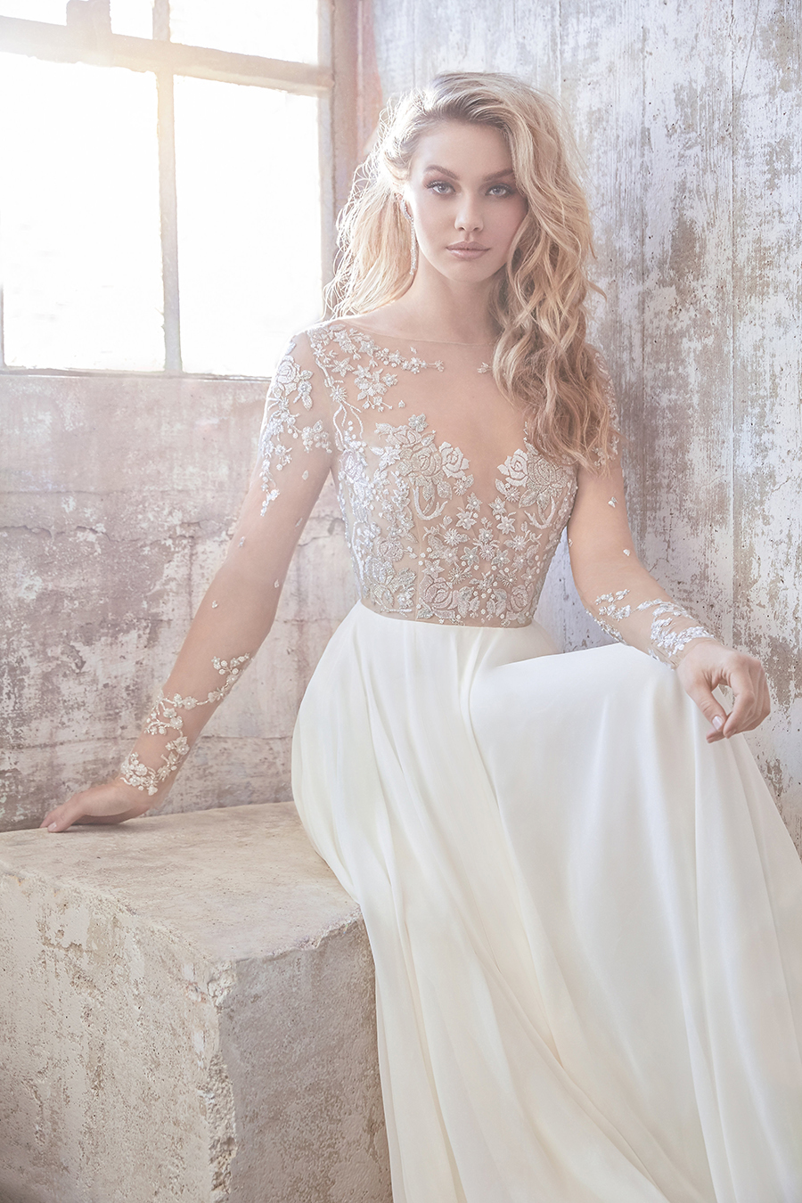 Hayley Paige Pascal Beaded Illusion A-Line Wedding Dress