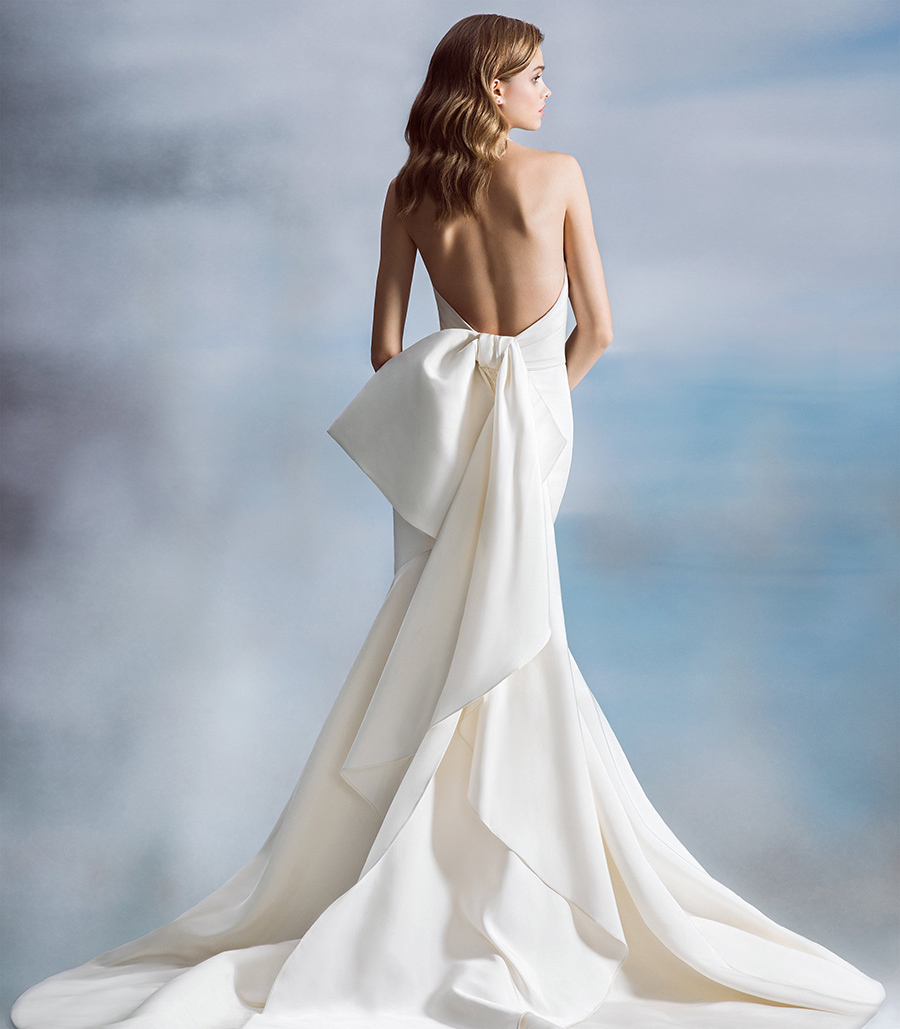 Kingsland by Allison Webb - Silk Faille Fit to Flare Bridal Gown with Origami Bow