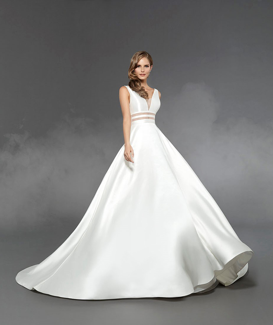 Ella by Matthew Christopher - Mikado Satin Structured A-line Wedding Dress