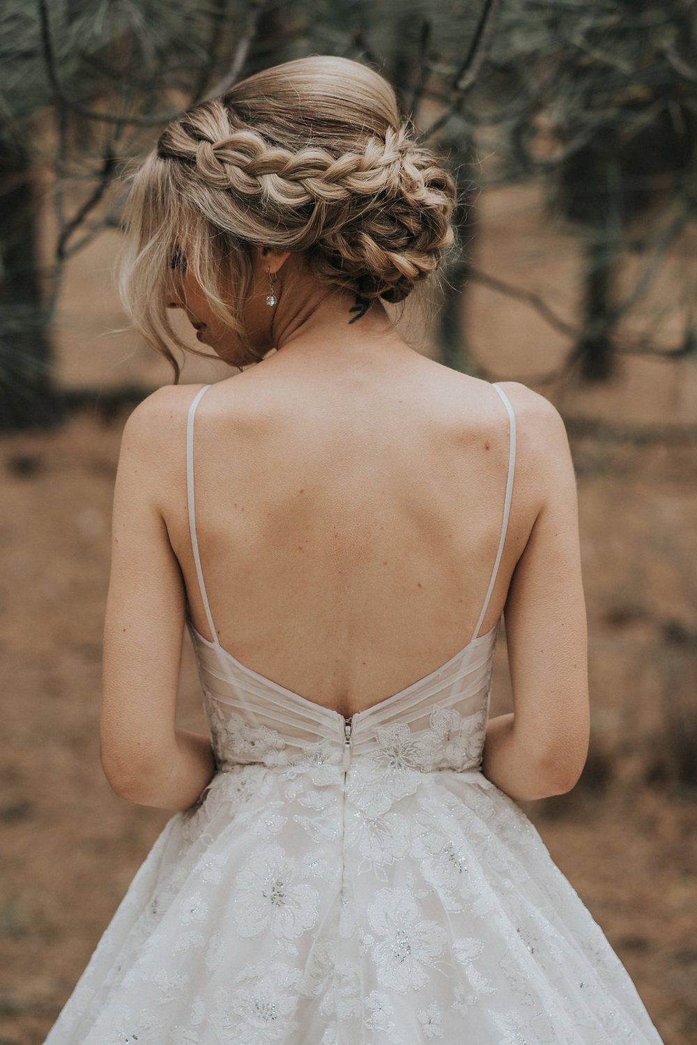 Low Back Wedding Dress with Floral Print and a Braid Updo