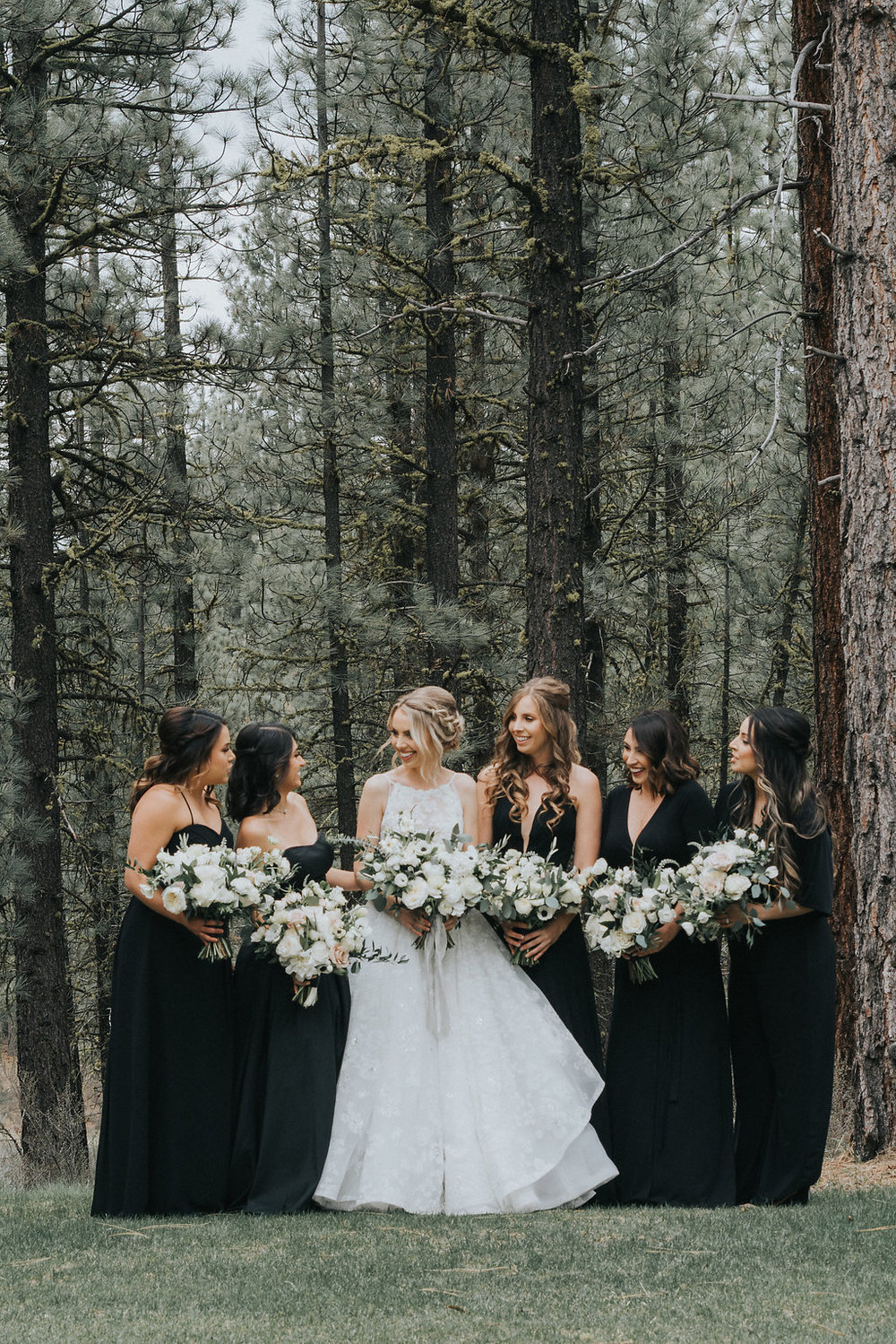 Glitter Floral Print Wedding Dress with Black Bridesmaid Dresses
