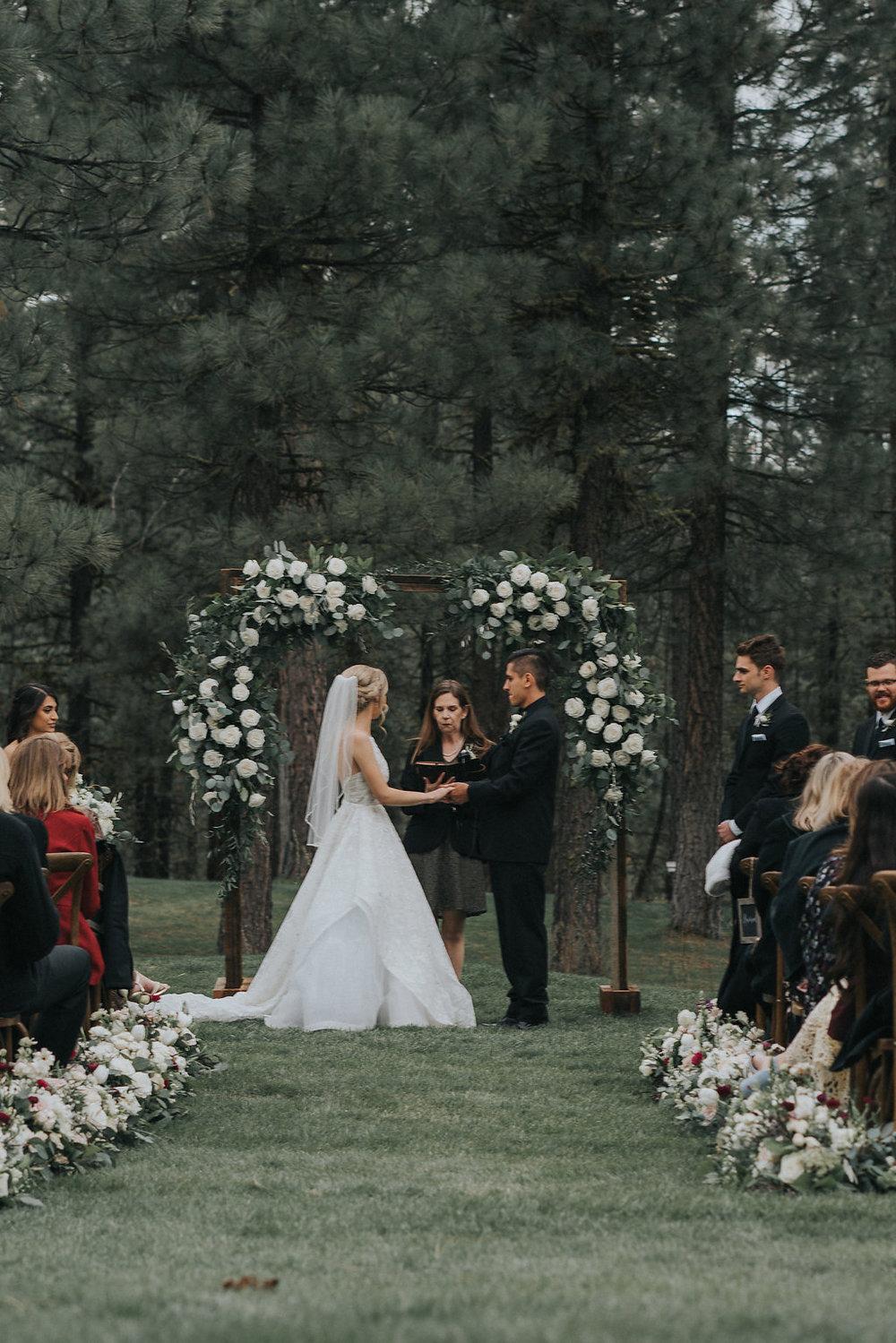 Woodland Wedding Ceremony with Romantic Garden Flowers