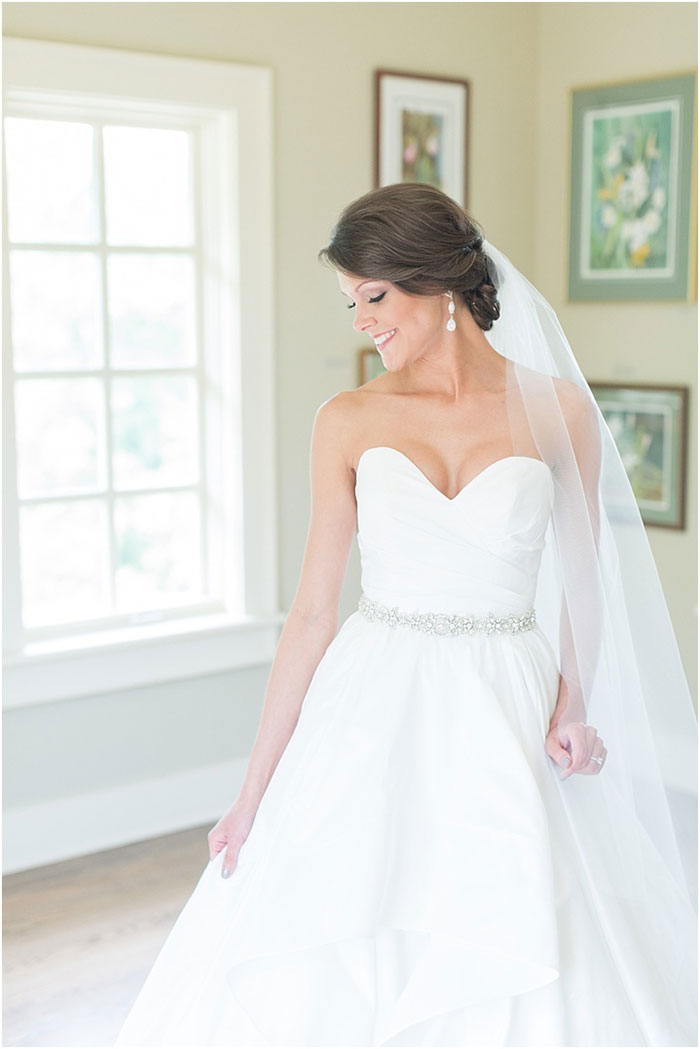Timeless A-Line Wedding Dress with a Beaded Belt