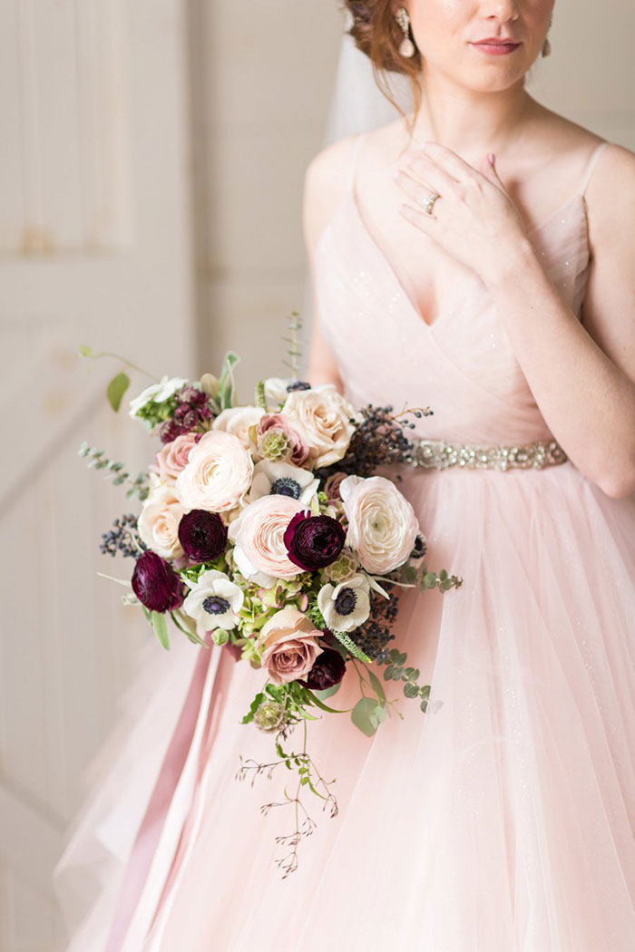 Blush Pink Hayley Paige Dress with a Rose Gold Bridal Sash
