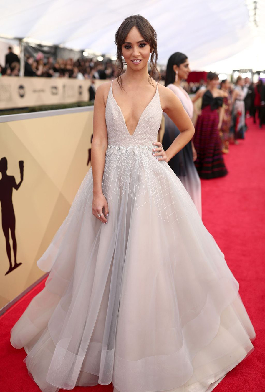 419dde52d3c9 Britt Baron Wears Hayley Paige and the Haute Bride Healing Crystal Sash on  the SAG Red
