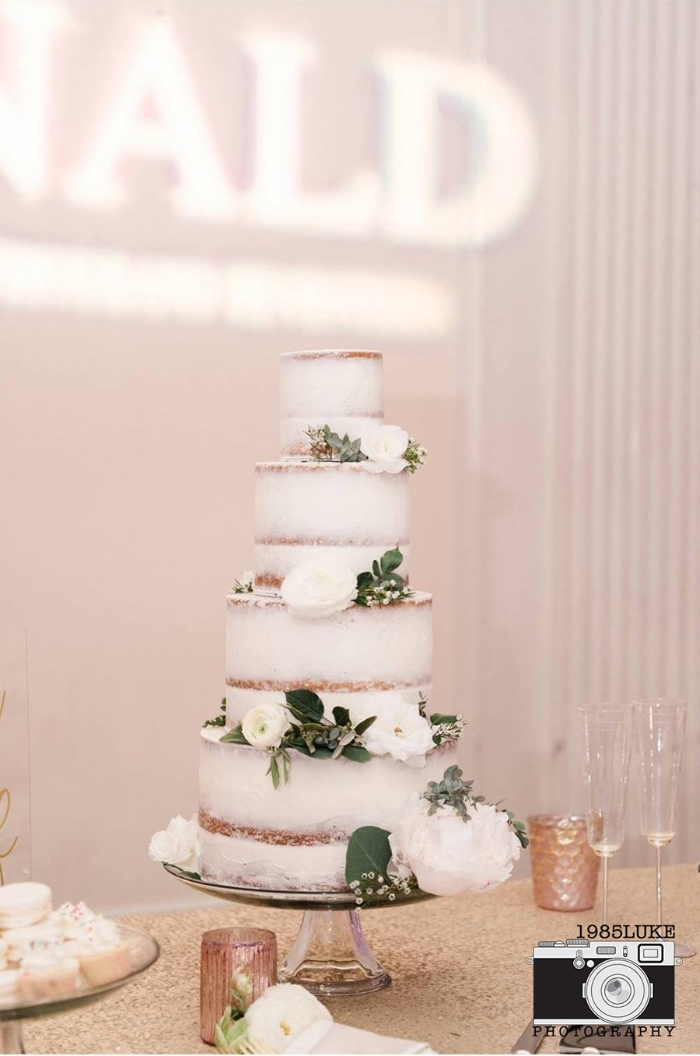 Chic Naked Cake with Summer Flowers