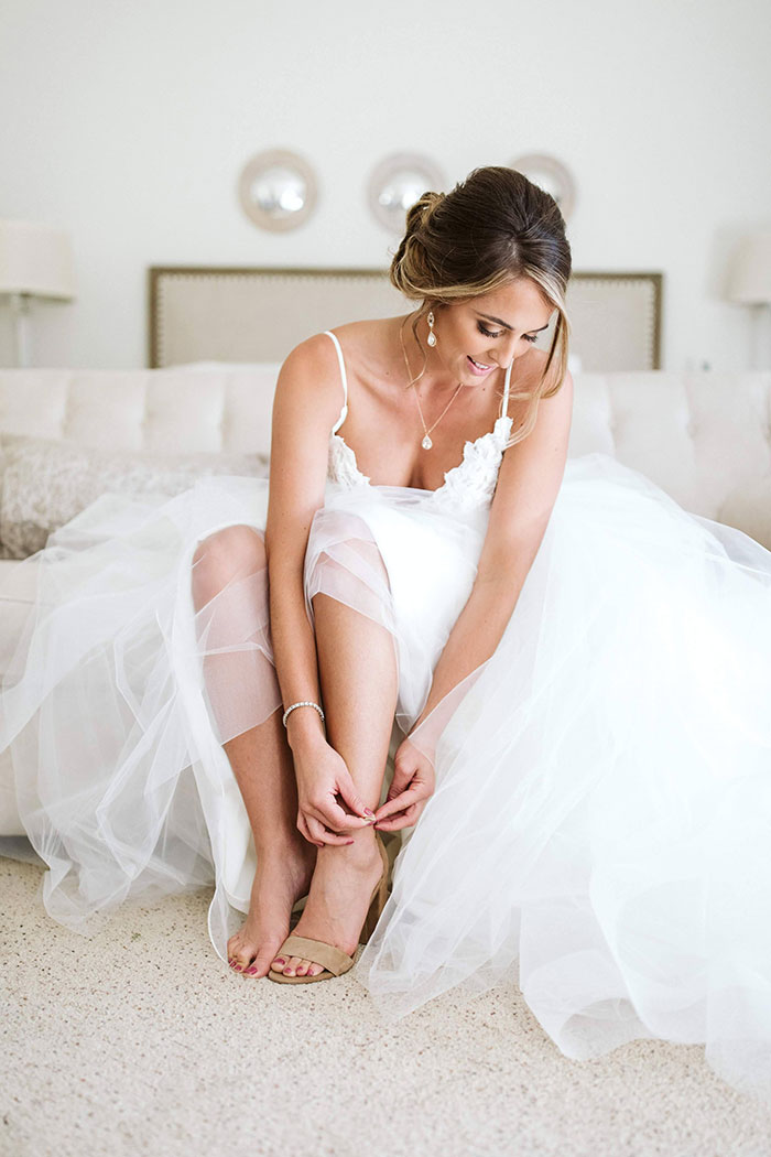 Real Bride in Blush by Hayley Paige with Haute Bride Jewelry