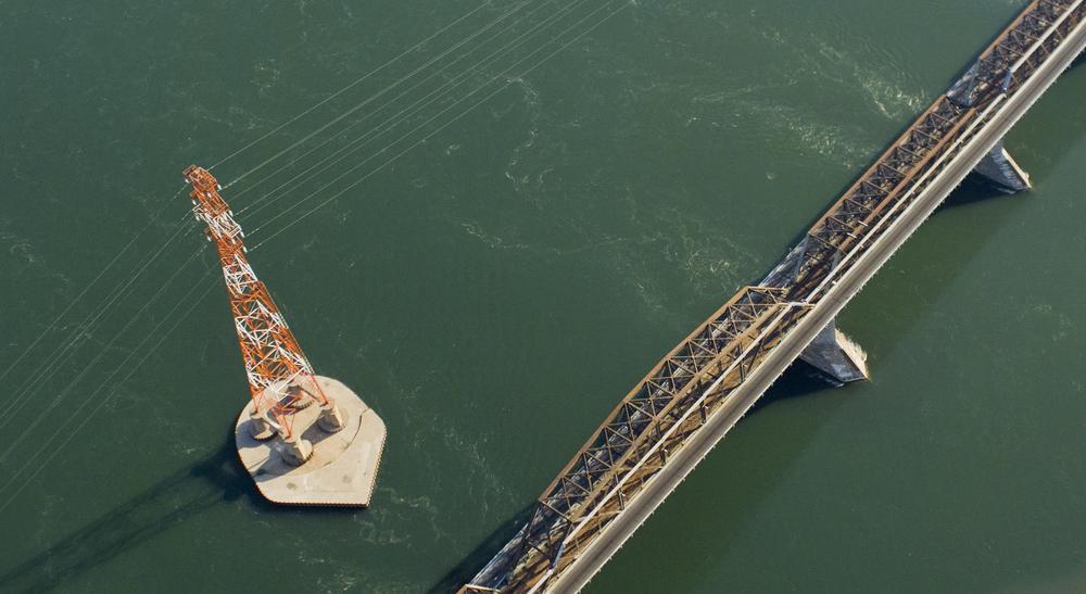 Victoria Bridge and high voltage lines, Montreal