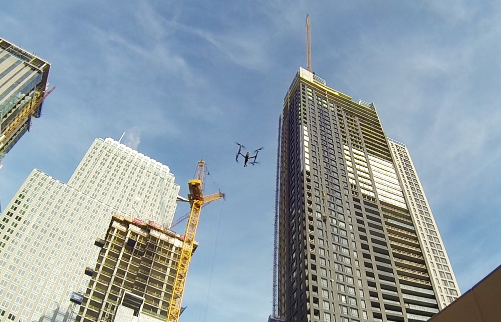 Drone filming in downtown Montreal