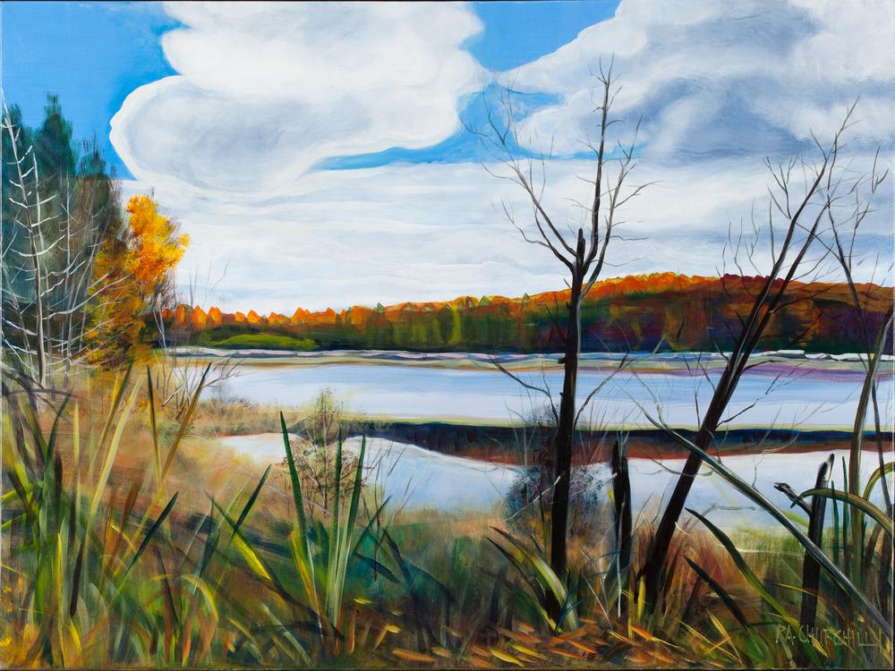 "Autumn Day On Harrison Lake  30""x40"" Acrylic"