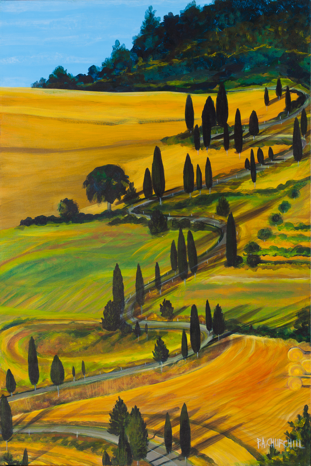 "A Tuscan Road 24""x36"" Acrylic"