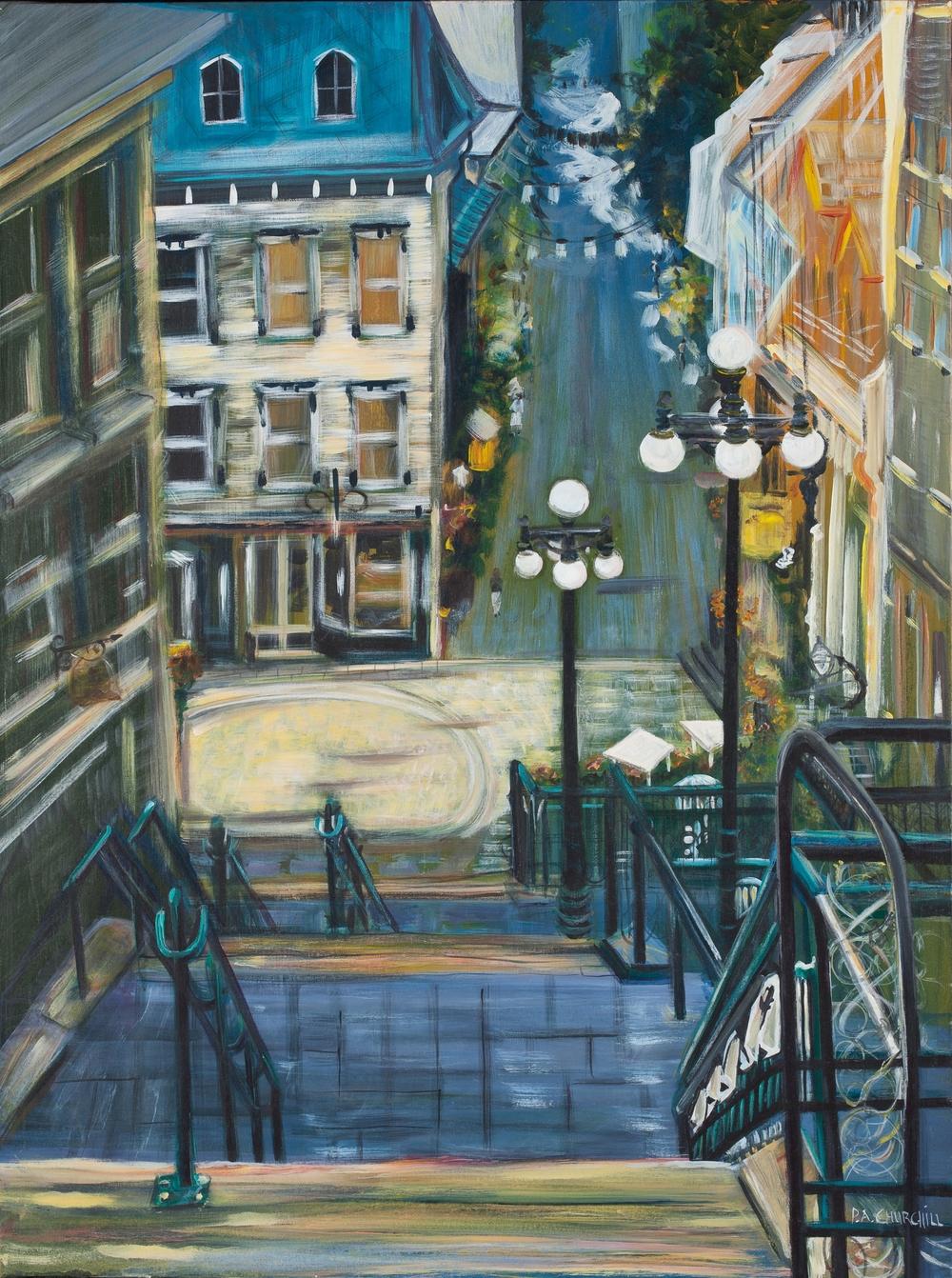 "Quebec City Market  30""x40"" Acrylic"